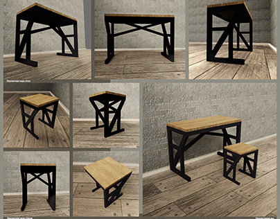 3D project: loft-stylef furniture