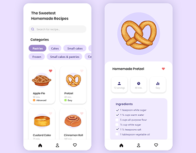 Sweets & Pastries Recipe UI Concept