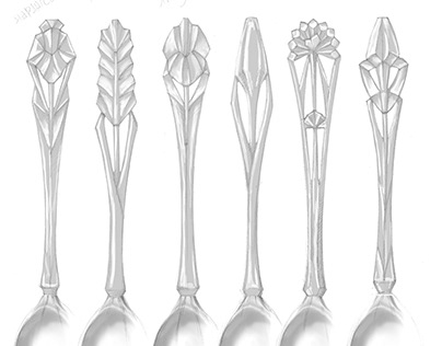 Flatware sketches – Flower spoons