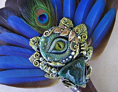 EMERALD WYVERN Blue Macaw Feather Ritual Fan