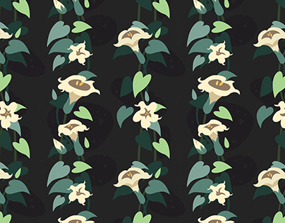 Moonflower seamless repeating pattern