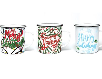 Multi-Panel Christmas Mugs