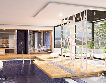 Interior visualization - day and night swimming pool