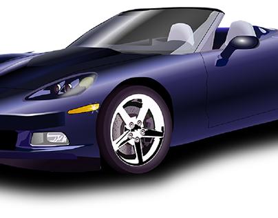 Blue Corvette Sports Car