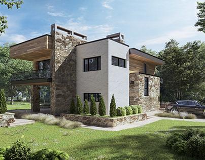 Visualization exterior moder house