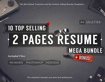 10 Top Selling 2 Pages Resume Mega Bundle + Bonus