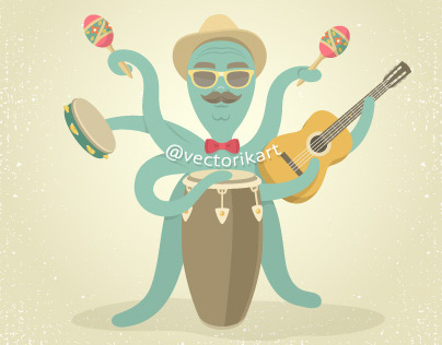 Cartoon Octopus Plays Music