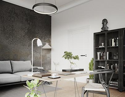 Bright home office with wabi-sabi decor
