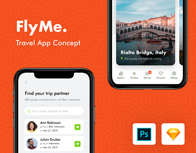FlyMe - Travel App Freebie UI Kit