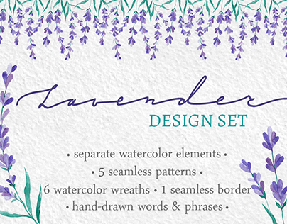 Watercolor Lavender design set