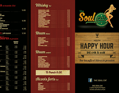 Carte A3 accordéon // Bar Soul Cat