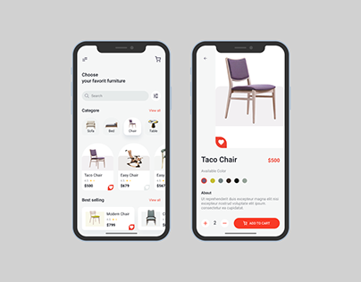 Free Furniture Store APP UI Kit Concept