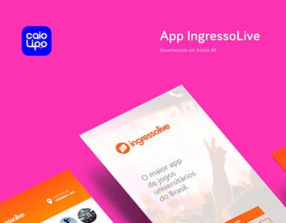 Layout App IngressoLive - Ingressos, Festas e Eventos