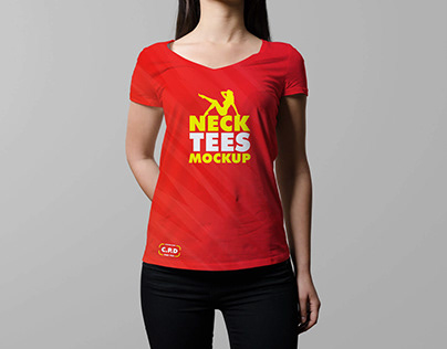 V-Neck Female T-Shirt Mockup Free Psd