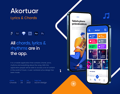 Akortuar Lyrics & Chords Mobile App UI/UX - Case Study