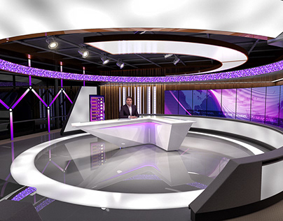 Broadcast TV Studio - 3D Rendering and Interactive