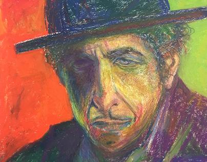 """Bob Dylan 18x24"""" Pastel, Canvas •Santa Monica '18"""