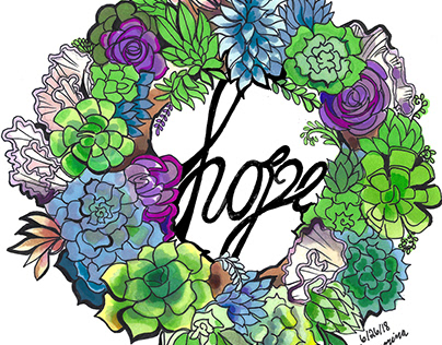 "SUCCULENT AND CACTI ""HOPE"" ILLUSTRATION IN MARKER"