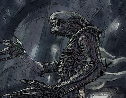 Roaming Alien in Nostromo corridors