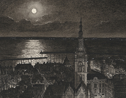 Town in Holland at Night