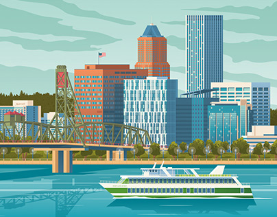 Portland Oregon Retro Travel Poster City Illustration