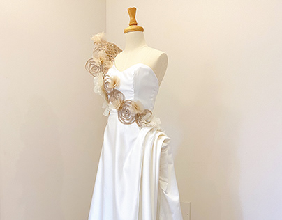 Bridal Gown with Floral Embellishment