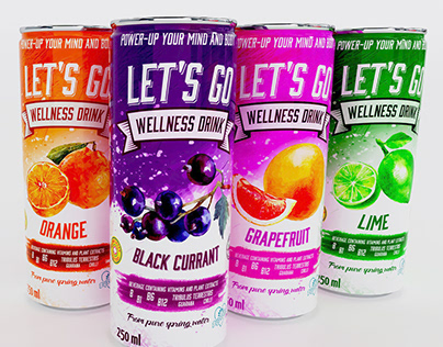 Let's Go - Wellness drink packaging