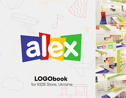 """ALEX"" toy store, brandbook design"