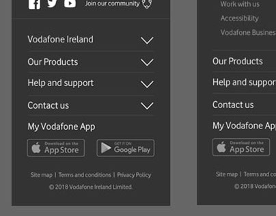 Footer Prototype and IA (vodafone.ie)