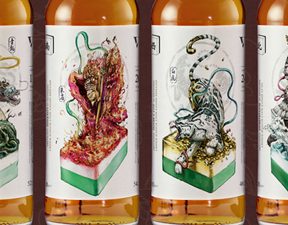 麻將系列威士忌酒標-東南西北/Majong Whisky Lable for Vive La Vie