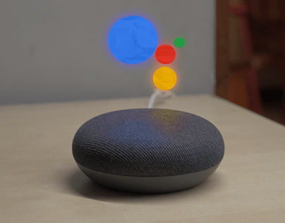 AR Google home assistant concept animation