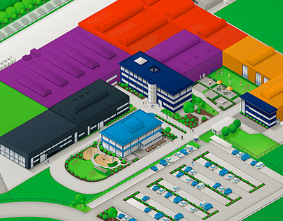 Isometric building and site plan
