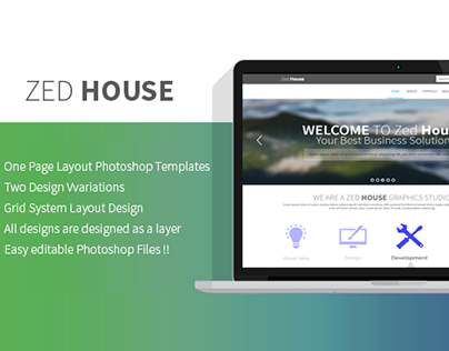 """ZED House"" One Page Multipurpose PSD Template"