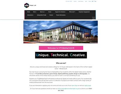 Custom WordPress theme for UTC Mediacity.