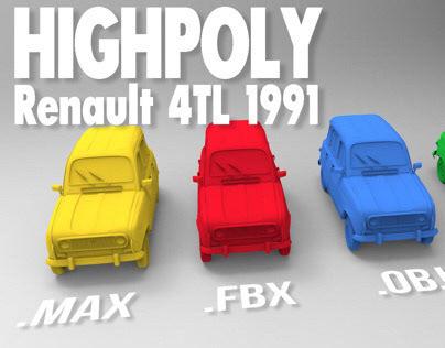Highpoly 3Dmodel Renault 4L TL Clan-1991