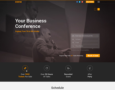One Page Event Landing Template for Events, Expo etc