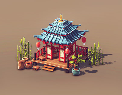 Asian 3d Game Buildings - Low Poly Game Art   LowPoly