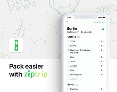 ZipTrip packing iOS app UX/UI