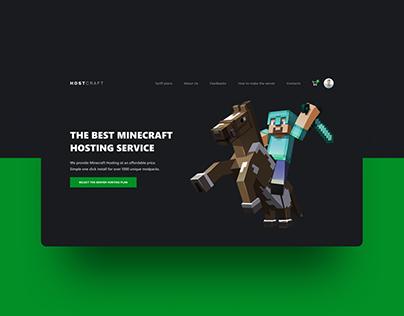 Landing page design for Minecraft hosting service