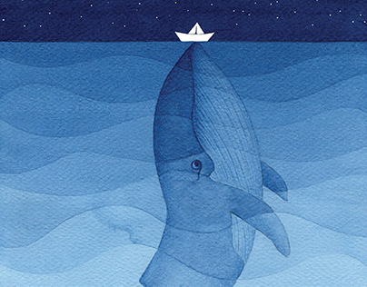 The whale II. Watercolor painting.