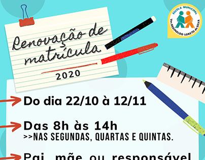 Comunicado - Renovação de Matrícula 2020