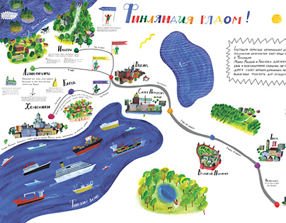 Map of the road from Moscow to Helsinki