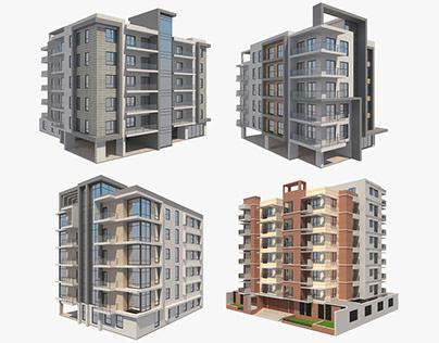 4 Apartment Buildings Set_4