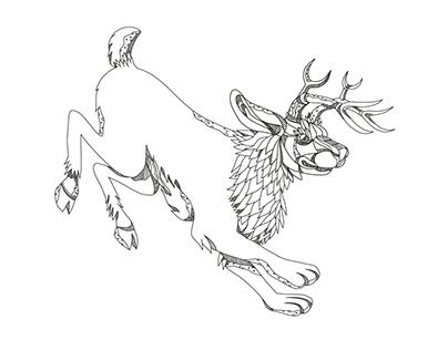 Jackalope Hopping Doodle Art