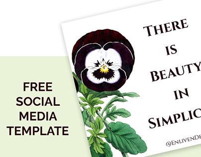 Vintage Pansy Illustration + Free Social Media Template