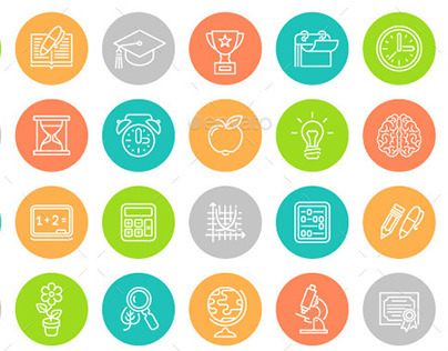 Linear Flat School Subjects Icons