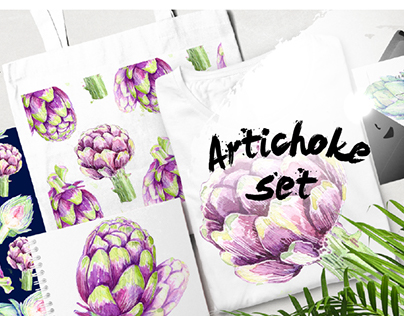 Watercolor artichokes set