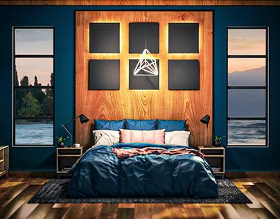 Interior Design Concept - Blue Wood - Bedroom
