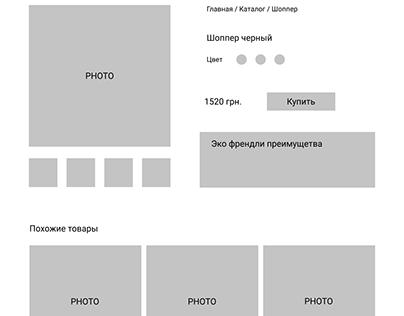 Прототип и отрисованный экран карточки товара