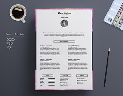 Watercolor Resume/CV Template - Letterhead